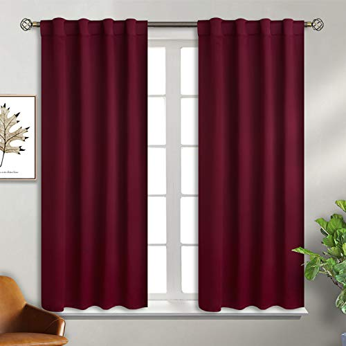 BGment Rod Pocket and Back Tab Blackout Curtains for Bedroom - Thermal Insulated Room Darkening Curtains for Living Room , 2 Window Curtain Panels ( 38 x 54 Inch, Burgundy Red )