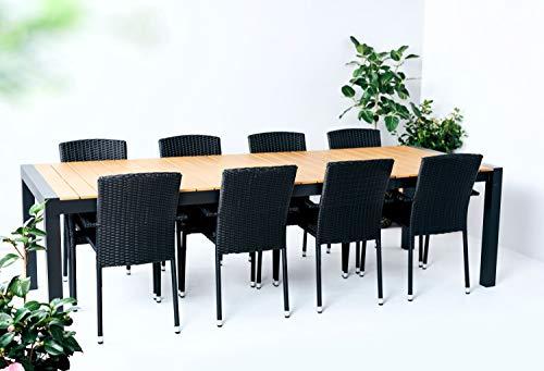 Outfit Polyrattan und Teakoptik-Polywood Garten Esstisch Garnitur, 9 teilig mit 8 Stühlen stapelbar für 8 Personen, Tisch erweiterbar, geeignet für den Garten, den Balkon oder die Terrasse