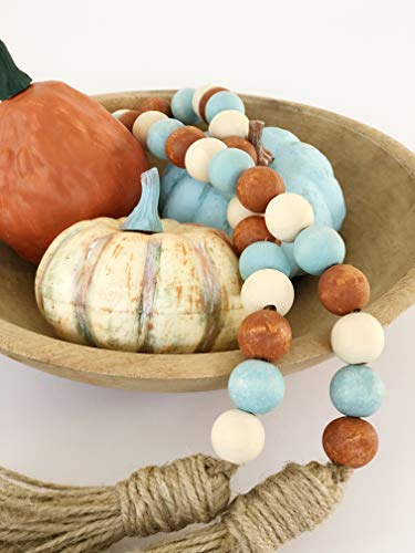 Wood Bead Garland with Tassels, Farmhouse Rustic Country Decor, Fall Decorations