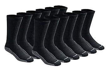 Dickies Men s Big and Tall Dri-tech Moisture Control Crew Socks Multipack Black  12 Pairs  Shoe Size  12-15