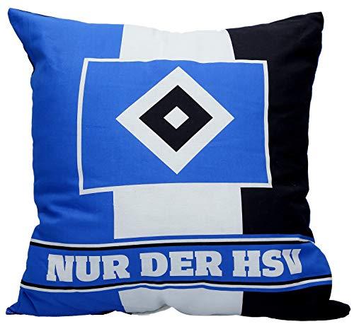HSV Cushion 38 x 38 cm, black/white/blue.