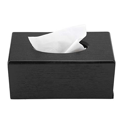 Tissue Box, MAGT Natuurlijke elegantie houten tissuedoos rechthoekige tissuedoos voor woonkamer slaapkamer keuken (zwart)
