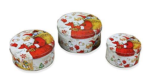 IID Keksdosen Set mit Deckel, Weihnachtsmannmotiv, 3 Verschiedene Größen, aus Metall, rund, auch als Geschenkbox, Weihnachts-und Plätzchendose geeignet, Mehrfarbig
