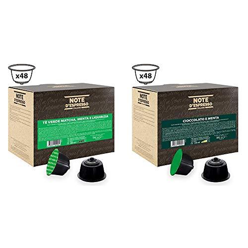 Note DEspresso - Capsulas de te verde matcha con menta y regaliz Exclusivamente Compatibles con cafeteras de capsulas Nescafe + Capsulas, Chocolate a la Menta