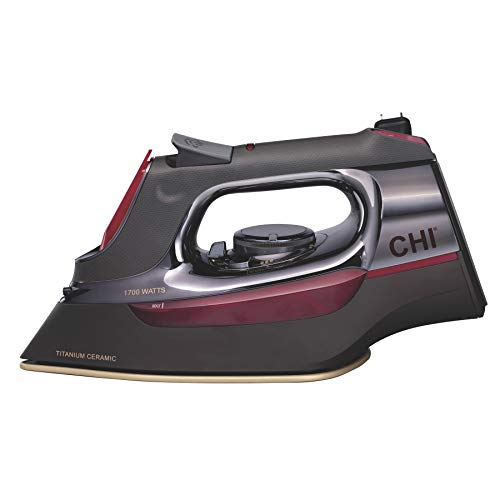 CHI Steam Iron with Retractable Cord, Titanium Infused Ceramic Soleplate & Over 400 Steam Holes,...