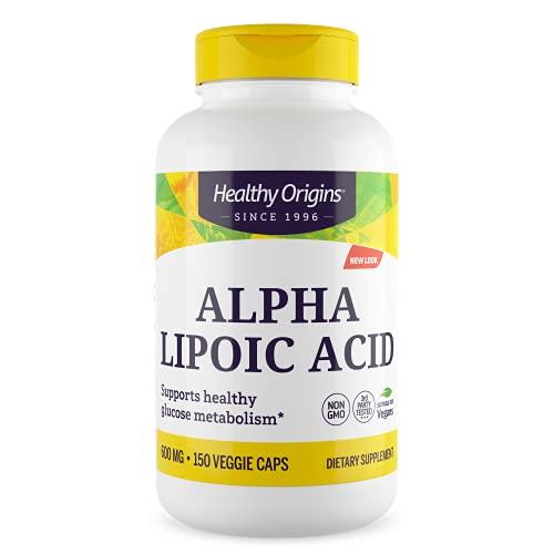Healthy Origins, Alpha Lipoic Acid ( Acido Alfa Lipoico ), Complemento Alimentare, Alta Dose, 600 mg, 150 Capsule, Senza Soia, Senza Glutine