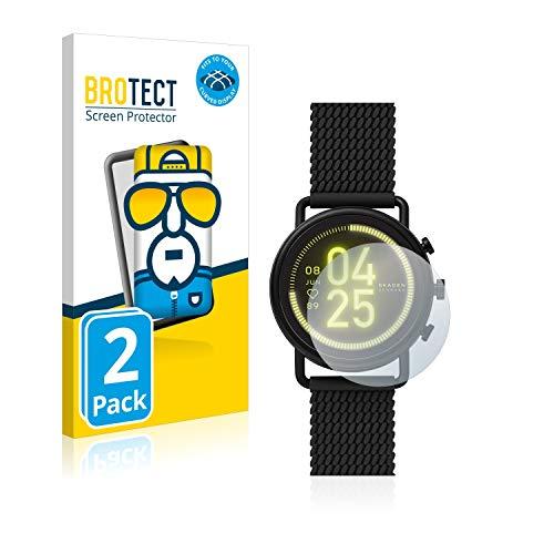 BROTECT Full-Cover Schutzfolie kompatibel mit Skagen Smartwatch Falster 3 (2 Stück) - Full-Screen Bildschirmschutz-Folie, 3D Curved, Kristall-Klar