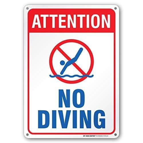 """Schild mit Aufschrift """"Attention No Diving, Swimming Pool Rules"""", 25,4 x 35,6 cm, Geschenk, robustes Metall, UV-geschützt und wetterfest"""