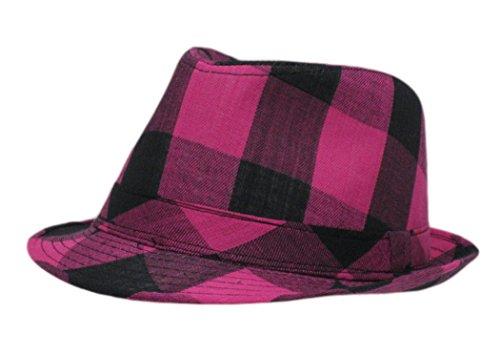 Bûcheron à carreaux Chapeau Trilby Fedora Chapeau - Rose -