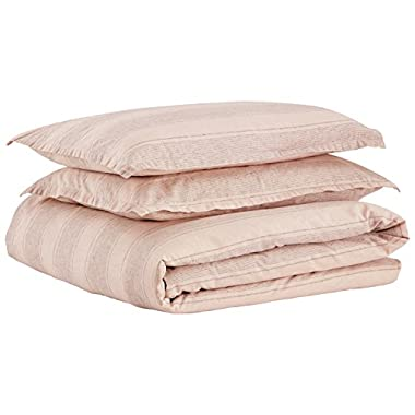 Stone & Beam Washed Linen Stripe Duvet Cover Set, Full/Queen, Blush with Gray Stripe