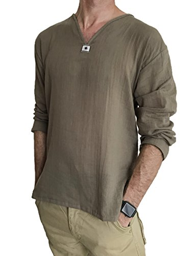 Men's Summer T-Shirt 100% Cotton Hippie Shirt V-Neck Beach Yoga Top (XX-Large, Brown)