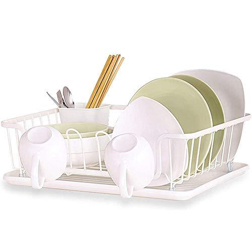 JXTBFQ Rejilla de Drenaje para tazones de Cocina, Cesta para Cubiertos, Rejilla para Cubiertos extraíble, Rejilla de Drenaje Blanca Resistente a los arañazos (43,5 * 27,3 * 19 cm)