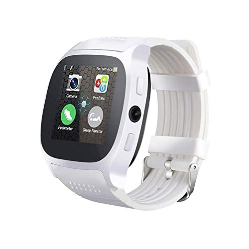 HX0945 Bluetooth Smartwatch T8 met camera simkaart Facebook WhatsApp ondersteuning TF Call Sport Smartwatch voor Android PK Q18 DZ09, wit