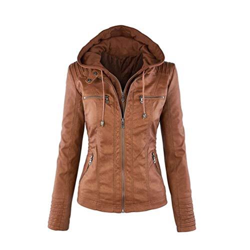 Tookang Damska kurtka w stylu vintage modna kurtka przejściowa, kurtka skórzana z kapturem, kurtka bomberka ze skóry, swobodny montaż