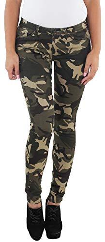 Sotala Damen Stretch Hüft Röhren Jeans Hose Slim Fit Skinny Röhrenjeans Stretchjeans Hüftjeans Camouflage Army Armee Tarnfarbe A S (36)