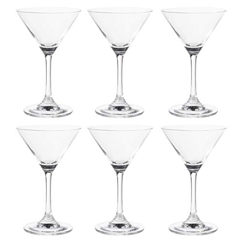 Martini Glasses - 6-Set Clear Classic 5-Ounce Cocktail Glasses