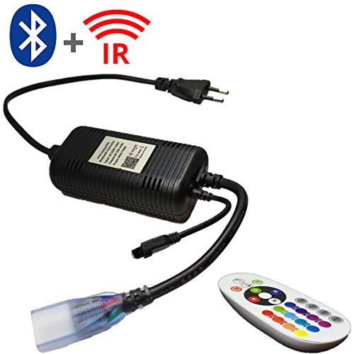 Bluetooth + 24 Keys Infrarot Netzteil Controller Set für 230V LED RGB Mehrfarbig Strip Streifen Lichtschläuche, Lichtschlauch, mit Fernbedienung, Dimmfunktion