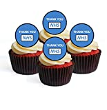 24 decoraciones comestibles para cupcakes con texto en inglés «Thank You NHS»