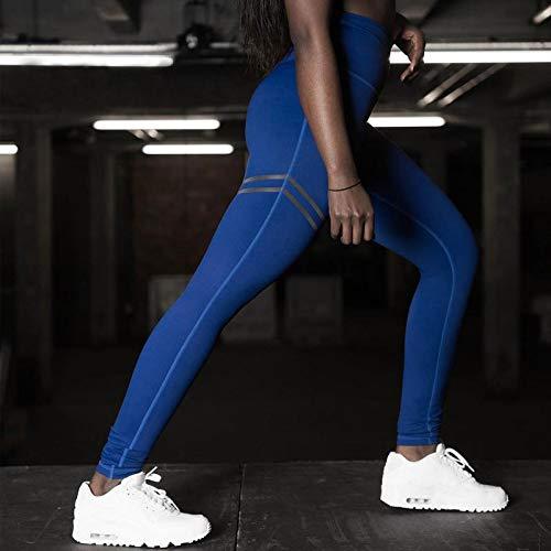 B/H Femme Pantalon de Yoga Longue Chic,Pantalon de Yoga de Compression à Rayures Taille Haute,Leggings Push-up pour Le contrôle du Ventre-Blue_S,Super Doux Pantalon de Yoga Extensible