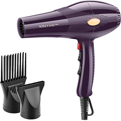 ROSILY 2200W Salon Hair Dryer, Professional 2 in 1 Blow Styling Blowdryer, Low Noise Salon Long Cord, with Concentrator, Comb Nozzle, 4 Speed 6 Heat Settings, 20 Year Lifespan