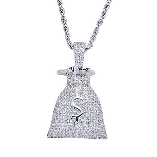 KMASAL Jewelry - Collar con colgante de circonita, diseño de hip hop, diseño de circonita, chapado en oro de 18 quilates con cadena de cuerda de acero inoxidable