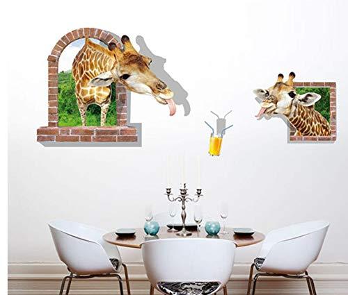 QTXINGMU Girafe Nouvelle Fenêtre Cassée Chambre Salon Canapé TV Fond Mural Amovible Étanche