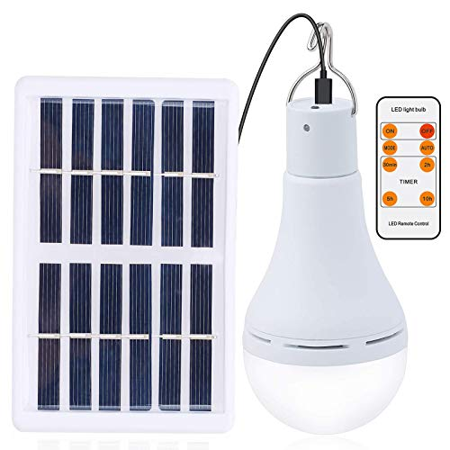 Afoskce Solar Light Bulb Outdoor Rechargeable 300LM Solar Powered Light Led Bulb with Remote Timer, Lighting Sensor, 4 Lighting Mode for Chicken Coops Shed Hiking Camping Hurricane Emergency Lighting