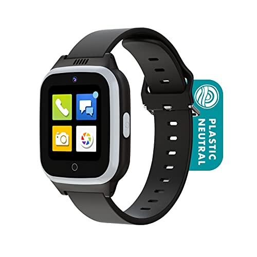 Cosmo JrTrack 2 Kids Smartwatch   Black   4G Voice Calling   Text, Voice, & Image Messaging   Enhanced GPS   Blocks Unknown Callers   SIM Card Included