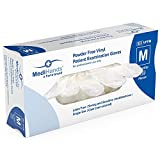 MediHands Clear Vinyl Powder Free Patient Examination Gloves | Disposable | Latex Free | Medium - Pack of 100