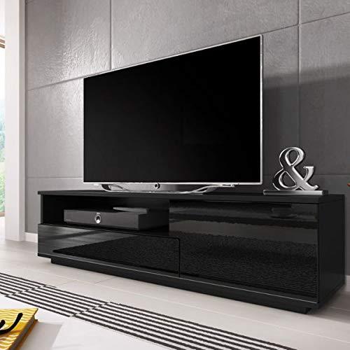 Jadella TV Board 'Lolo' Lowboard kast televisiekast dressoir hoogglans 138 x 41 x 40 cm Zwart mat/zwart hoogglans