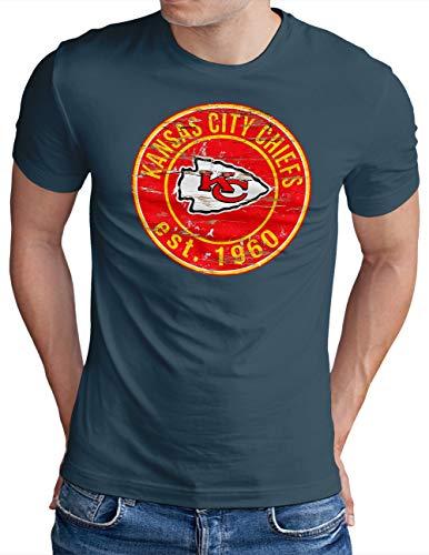 OM3® - Kansas City Badge - T-Shirt | Herren | American Football Shirt | Denim, XL