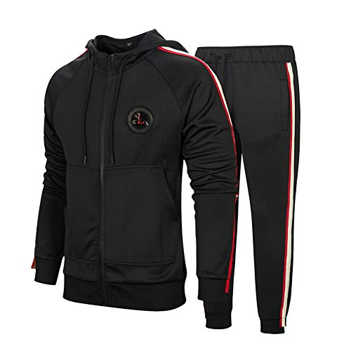 DUOFIER Men's Hooded Athletic Tracksuit Full Zip Casual Jogging Gym Sweat Suits, Black-M