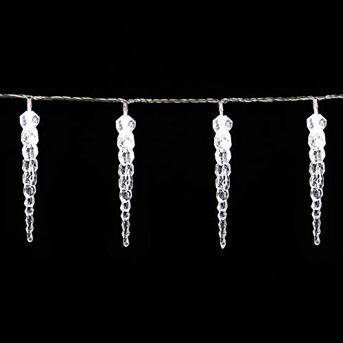 Monzana 80 LED Lichterkette Eiszapfen Kaltweiß Innen & Außen Länge 13m Weihnachten Beleuchtung Weihnachtsdeko Outdoor