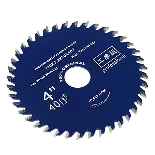 Hoja de sierra circular de aleación de 110 mm x 40 dientes x 20 mm de diámetro para cortar madera (azul oscuro)