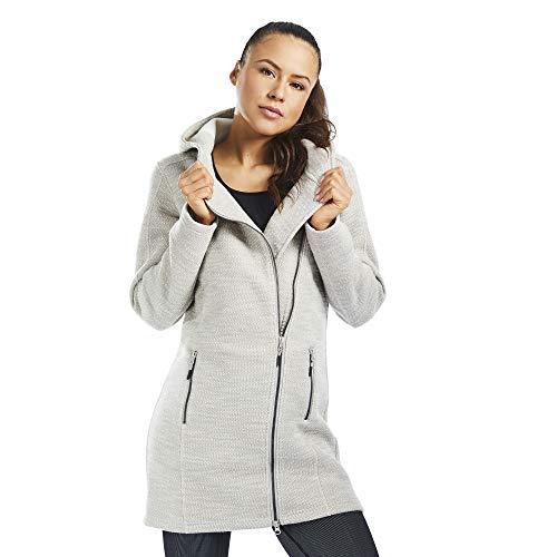 SMILODOX Damen Mantel Luna/Langarm Mantel für Regen Kälte und Schnee | Wintermantel - Übergangsjacke - Langer Mantel mit Reißverschluss - schlicht, Farbe:Beige, Größe:M
