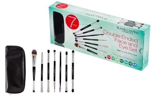 Lot de 7 pinceaux de maquillage en toile vierge pour le visage et les yeux avec étui de voyage gratuit 1 unité