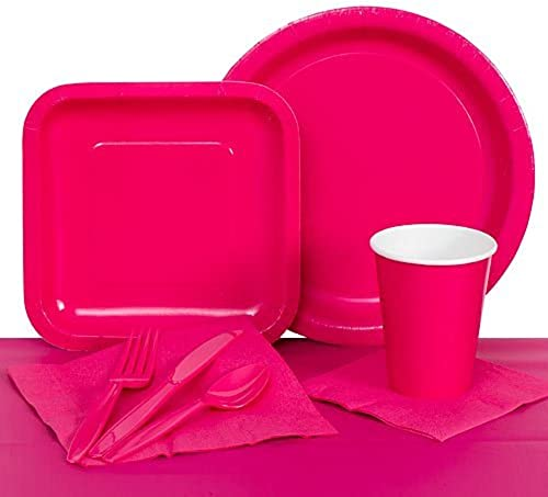 Hot rose Paper Party Tableware Kit by Shindigz