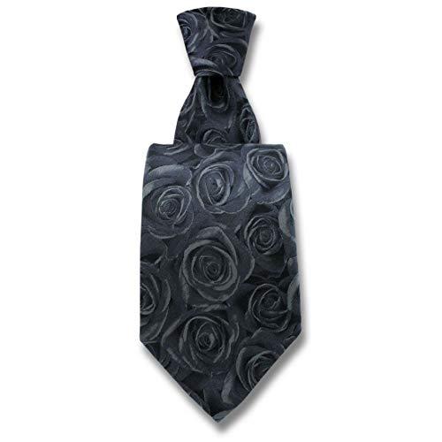 Robert Charles. Cravate. Fleur de rose, Soie. Gris, Fantaisie. Fabriqué en Italie.