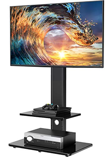 Including Cable Management Height Adjustable Tabletop TV Stand with Tempered Glass Base USX MOUNT TV Base with Swivel Mount for 26-55 Inch LCD LED Flat Screen TVs