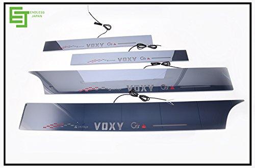 80系ノア・ヴォクシーパーツスカッフプレートLED前後4枚組 キッキングプレートLED流れる白発光 LEDスカッフイルミネーションプレート [並行輸入品]
