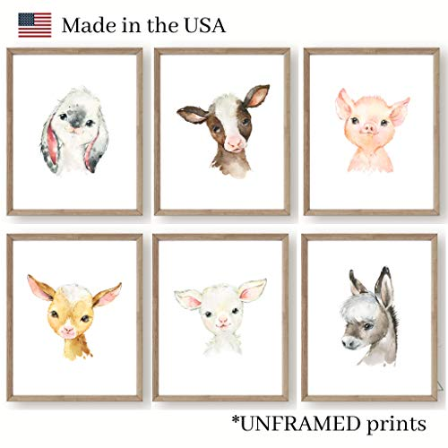 Farm Baby Animals Nursery Wall Decor - Set of 6 UNFRAMED Prints - 8x10 Posters - Bunny Cow Pig Lamb Donkey Goat