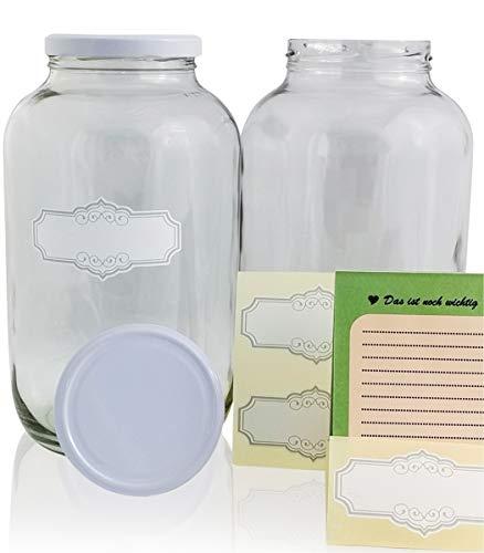 SMIJOS große Vorratsgläser 4 Liter Set im Stroh perfekt für Kombucha Pilz, Kefir Fermentation - Große Einmachgläser mit Deckel 4L