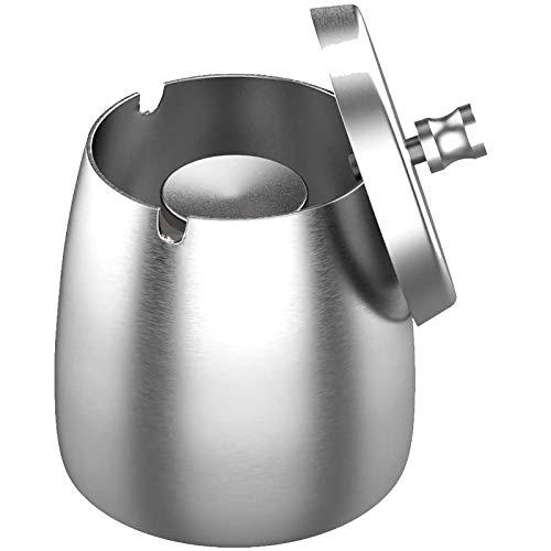 Nobranded Stonebroo Winddichter Aschenbecher mit Deckel, 10,5 x 10,2 cm (H x Ø), Edelstahl Tischaschenbecher, für Home Draussen und Innen, Silver LYH01S