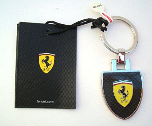 Ferrari Schlüsselanhänger Scudetto Wappen Carbon Look