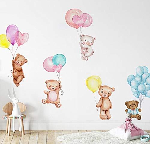Farbballon Vinyl Dekoration Wand Aufkleber Kinderzimmer niedlich Bären Wand Aufkleber Haus Dekoration Wohnzimmer