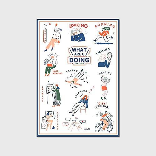 Alfombras Infantiles Extragrande Alfombrilla de Juegos para bebé Inglés de Dibujos Animados Todos los días en Blanco 160 x 200 cm