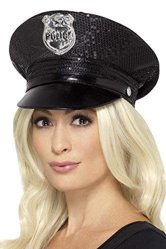 Smiffy'S 46988 Gorra De Policía Con Lentejuelas, Negro, Tamaño Único , color/modelo surtido