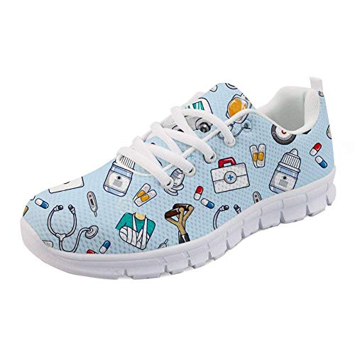 FOR U DESIGNS Spring Summer Nurse Flats for Women Blue Mesh Running Walking Sneakers Size 39