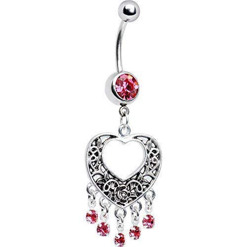 BodyCandy Pink Hollow Heart Chandelier Stainless Steel Navel Belly B