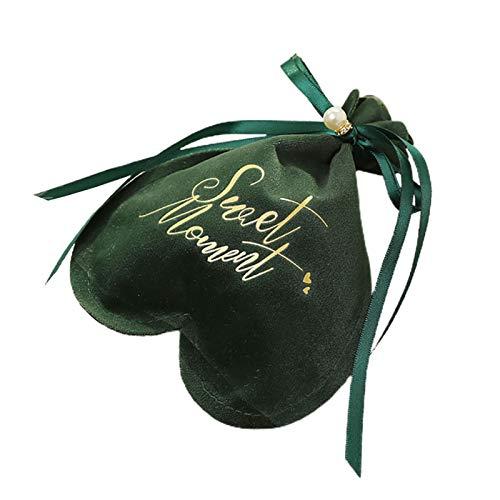kangqiang 1 bolsa de almacenamiento con forma de corazón, para bodas, fiestas, día de San Valentín, con cordón, color verde negruzco
